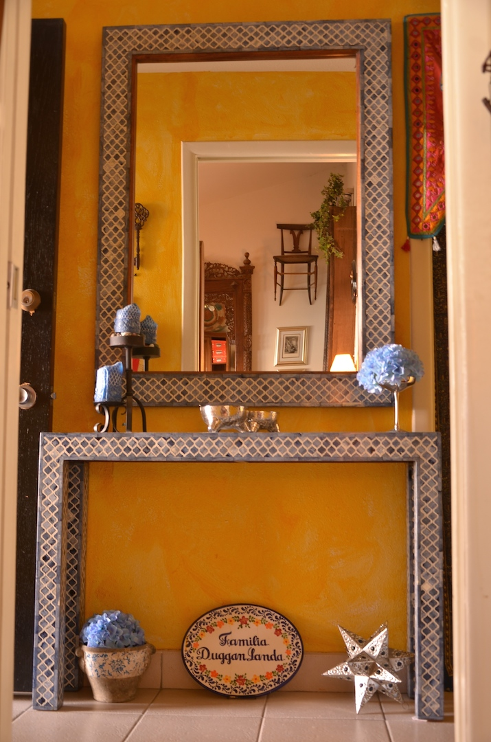 This beautiful blue/white console & mirror in Lucia's house is made out of camel bone! Photo courtesy of Lucia Landa.
