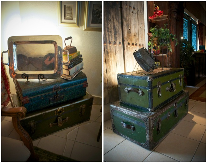 One of the trunks belonged to Lucia's grandmother. Her mother died, and to make extra money, they would go to the US once a year to pick cotton during the season. And these are the chests so they used. Top is from Saudi.