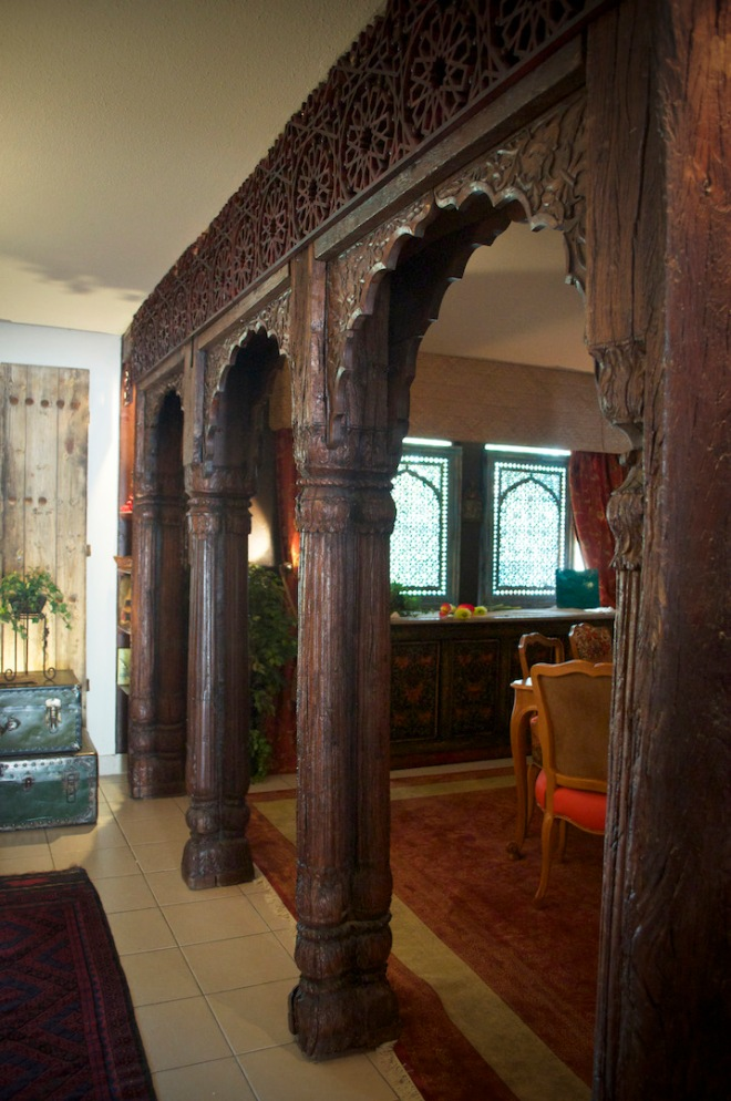 Lucia's Indian arches between her living room and dining room, purchased from Khoba Mart.