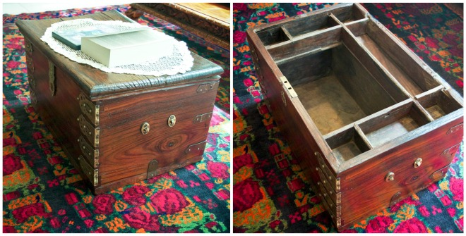 Antique Omani money box, salvaged from a ghost town and brought back to life by refinishers Mohammed and Daniel Ameer.