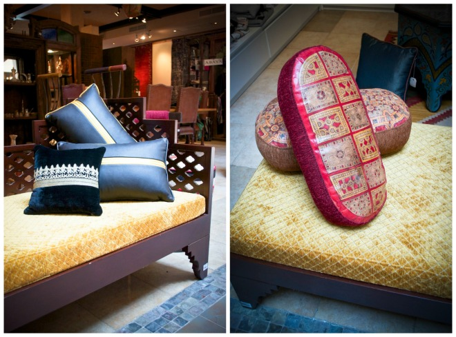 Pillow made out of a Bisht (left), SR 400. Pillows made by the Toureg (right), SR 250.